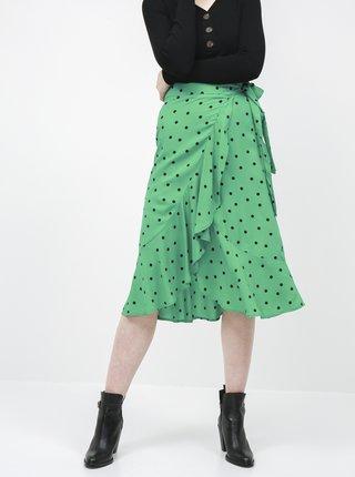 Zelená puntíkovaná zavinovací midi sukně Jacqueline de Yong Susie