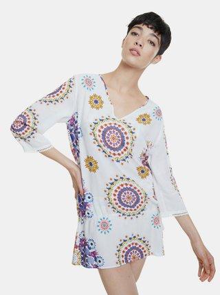 Bílé vzorované šaty Desigual