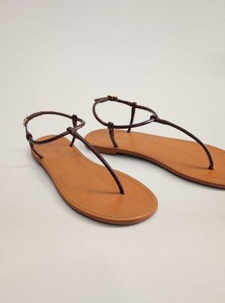 Tmavě hnědé kožené sandály Mango Formen