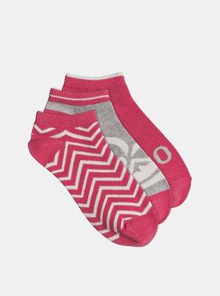 Sada troch párov ponožiek v ružovej farbe Roxy