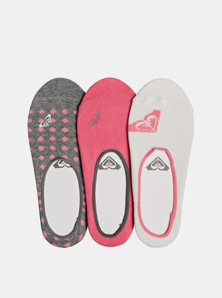 Sada troch párov ponožiek v šedej a ružovej farbe Roxy