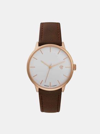 Dámske hodinky s hnedým remienkom z vegánskej kože CHPO Khorshid