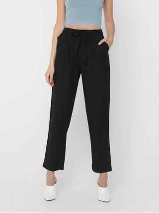 Černé kalhoty s příměsí lnu ONLY