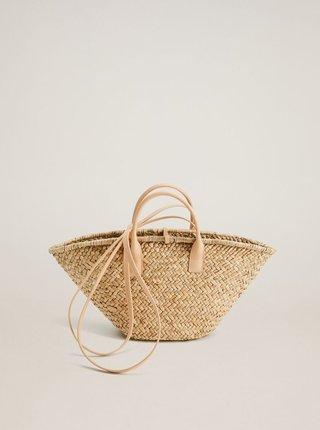 Světle hnědá slaměná kabelka Mango Provence