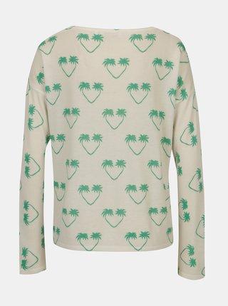 Krémový lehký svetr s motivem palem a flitry Rich & Royal