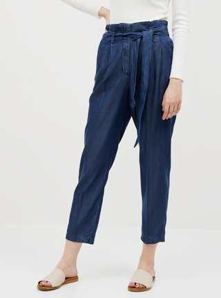 Tmavomodré dámske skrátené nohavice Tom Tailor