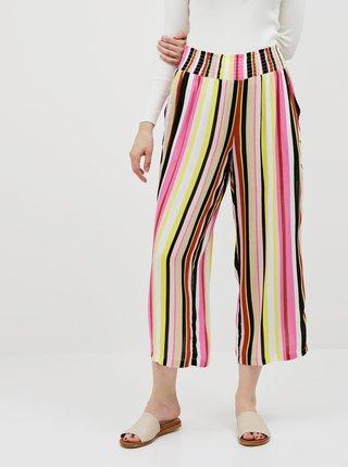 Žlto-ružové pruhované nohavice Noisy May Flora