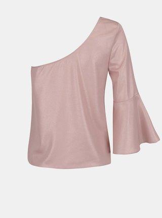 Světle růžový asymetrický top Miss Selfridge