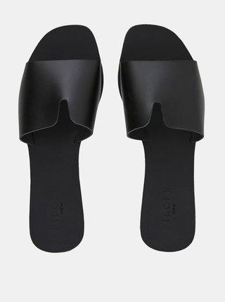 Čierne kožené šľapky Pieces Nora