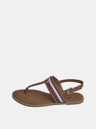 Hnedé dámske kožené sandále Tommy Hilfiger