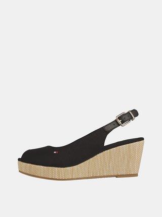 Čierne sandálky na plnom podpätku Tommy Hilfiger