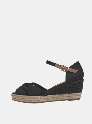 Čierne dámske sandálky na plnom podpätku Tommy Hilfiger