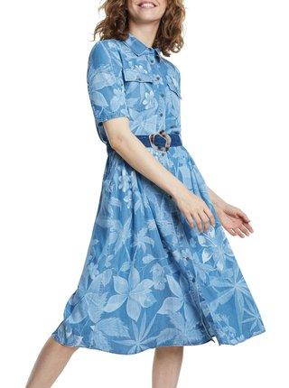 Desigual modré košilové šaty Vest Kate