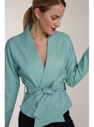 Kara mentolový kožený kabátik Kimono