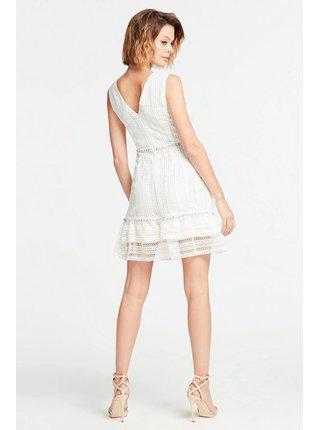 Guess biele šaty s čipkou