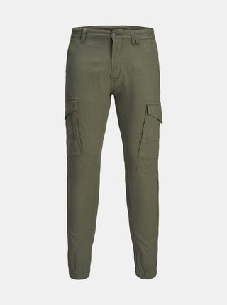 Tmavozelené nohavice s prímesou ľanu Jack & Jones Paul