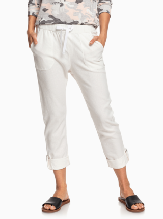 Bílé zkrácené lněné kalhoty Roxy