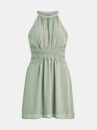 Světle zelené šaty s krajkou VILA Milina