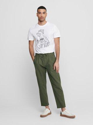 Tmavě zelené lněné kalhoty ONLY & SONS Leo