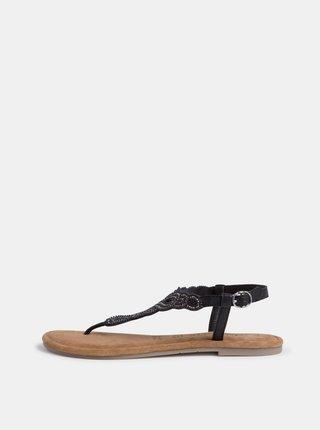 Černé kožené sandály s korálky Tamaris
