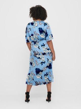 Modré kvetované maxišaty ONLY CARMAKOMA Flone