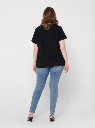 Čierne tričko s prímesou ľanu ONLY CARMAKOMA Jungle