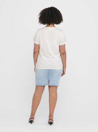 Biele tričko s prímesou ľanu ONLY CARMAKOMA Jungle