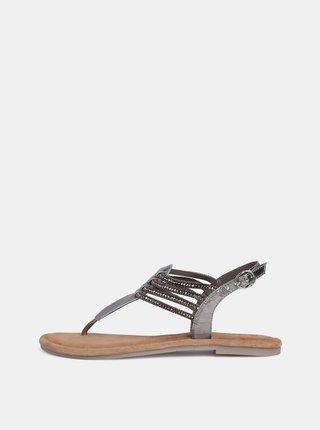 Kožené sandály ve stříbrné barvě s korálky Tamaris