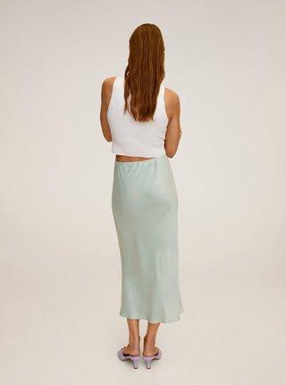 Světle zelená saténová midi sukně Mango Bias