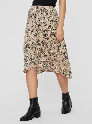 Béžová vzorovaná sukně VERO MODA Kate