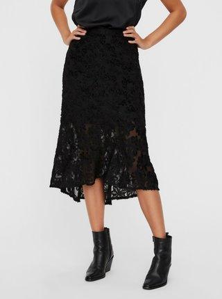 Čierna krajková midi sukňa AWARE by VERO MODA Kaya