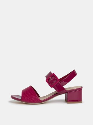 Tmavě růžové lesklé sandálky s hadím vzorem Tamaris