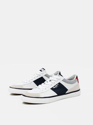 Bílé pánské tenisky se semišovými detaily Pepe Jeans