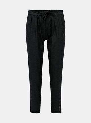 Černé kalhoty s příměsí lnu ONLY Viva