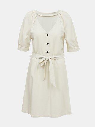 Krémové lněné šaty VERO MODA Day