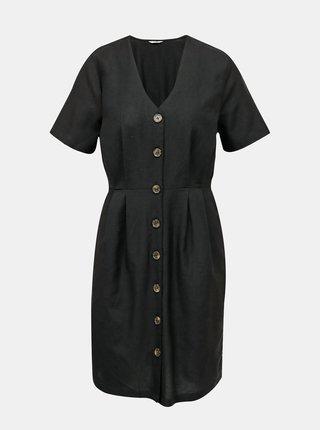 Čierne šaty s prímesou ľanu ONLY Viva