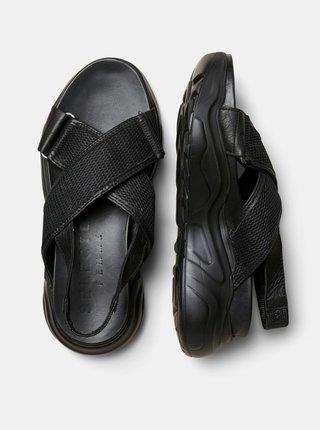 Čierne kožené sandále Selected Femme Follie