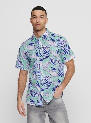 Světle modrá vzorovaná košile ONLY & SONS