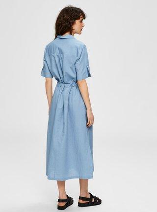 Modré košilové lněné midišaty Selected Femme Cally