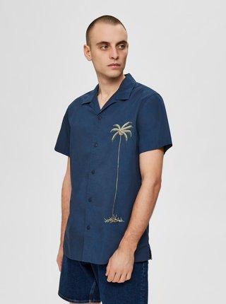 Tmavomodrá košeľa s potlačou Selected Homme