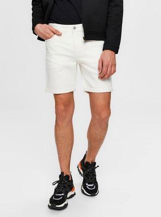 Biele rifľové kraťasy Selected Homme