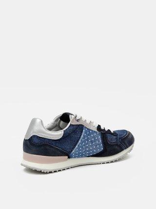 Modré dámské tenisky se semišovými detaily Pepe Jeans