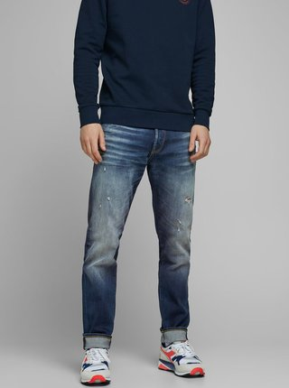 Modré tapered fit džíny Jack & Jones Fred