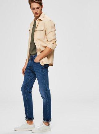 Tmavě modré straight fit džíny Selected Homme Scott