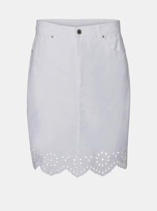 Biela rifľová sukňa VERO MODA Lisa