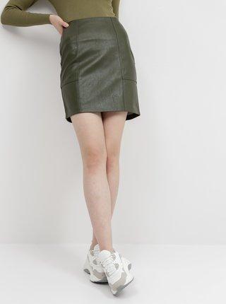 Khaki koženková sukně ONLY Sky
