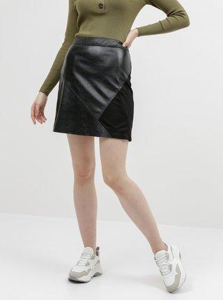 Černá koženková sukně s detailem v semišové úpravě VILA Hallo