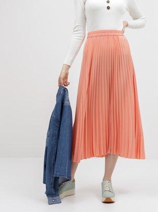 Koralová plisovaná maxi sukňa Selected Femme Alexis