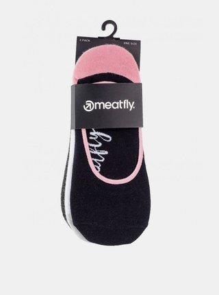 Sada troch párov dámskych nízkych ponožiek v bielej, čiernej a šedej farbe Meatfly