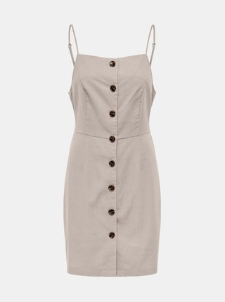 Béžové šaty s prímesou ľanu ONLY Ember